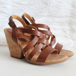 Kork-Ease Strappy Brown Leather Cork Heel Sandals